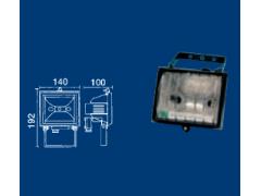 Proyector halógeno exterior mini 150 W. Con rejilla. Blanco